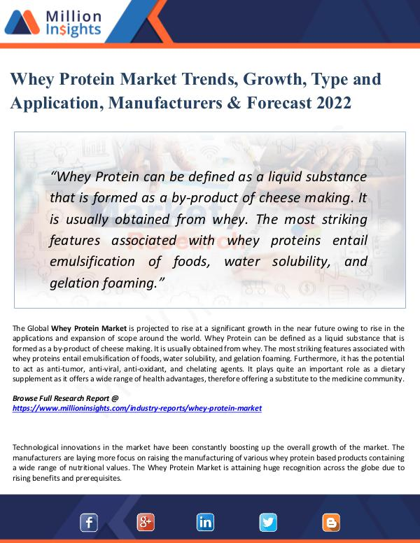 Whey Protein Market Trends, Growth, Type 2022