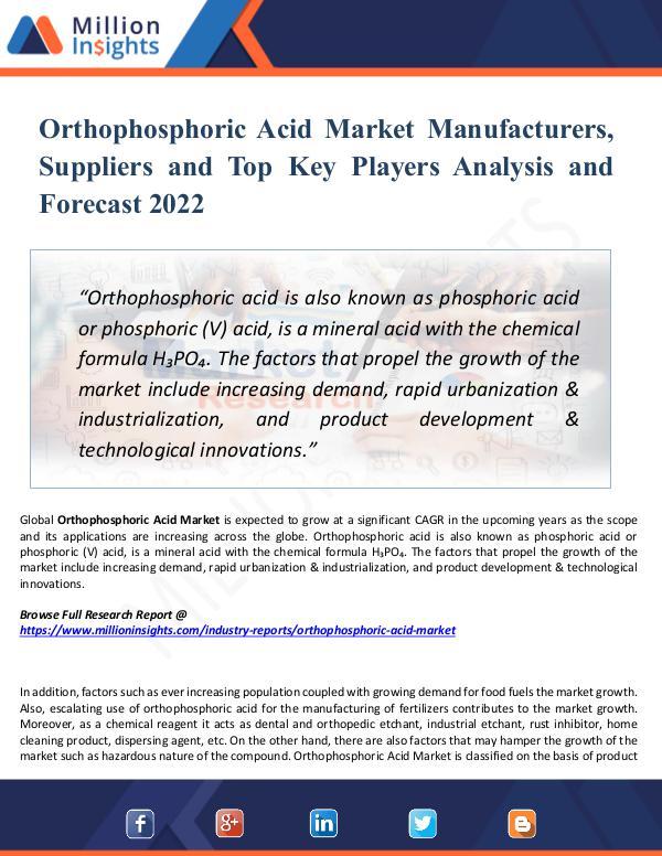 Market New Research Orthophosphoric Acid Market Manufacturers, 2022