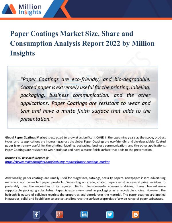 Paper Coatings Market Size, Share and Consumption
