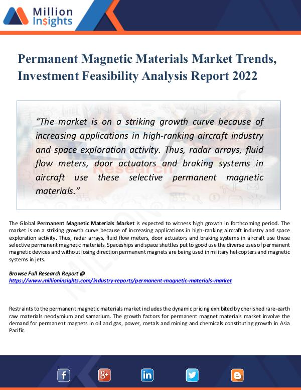 Market New Research Permanent Magnetic Materials Market Trends, 2022