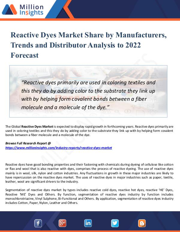 Market New Research Reactive Dyes Market Share by Manufacturers, Trend