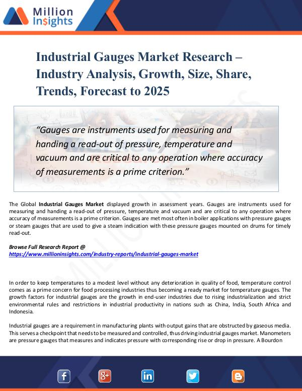 Industrial Gauges Market Research Analysis