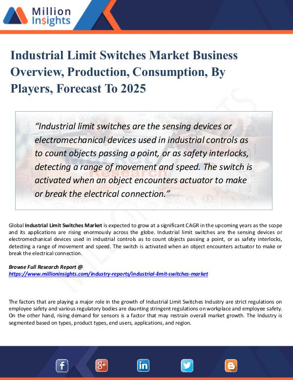 Industrial Limit Switches Market Business Overview