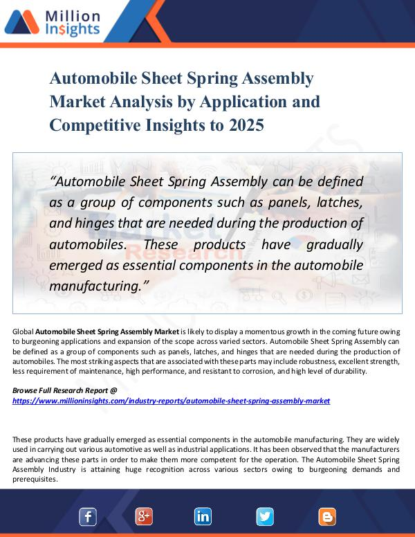 Automobile Sheet Spring Assembly Market Analysis