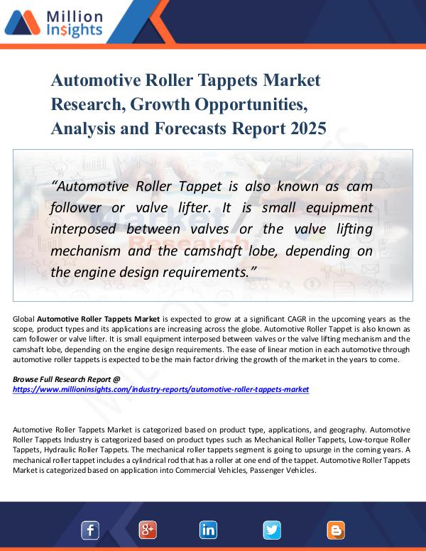 Automotive Roller Tappets Market Research, Growth