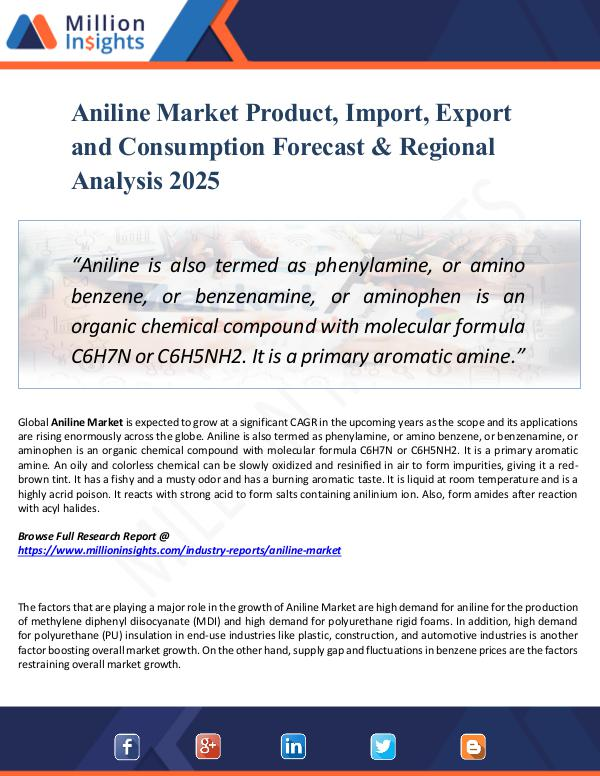 Aniline Market Product, Import, Export 2025