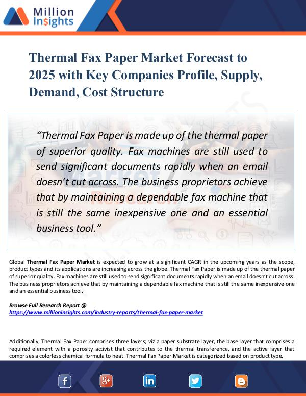 Market Research Analysis Thermal Fax Paper Market Forecast 2025