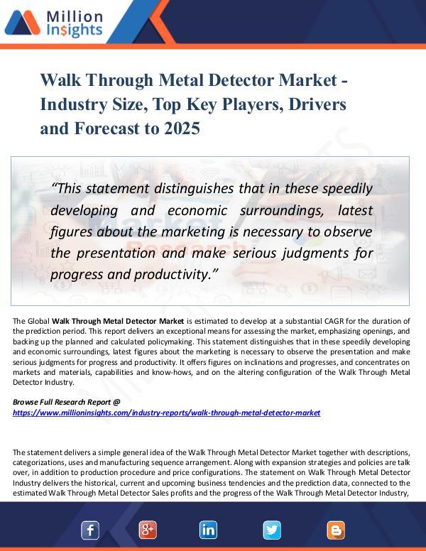 Market Research Analysis Walk Through Metal Detector Market - Industry Size