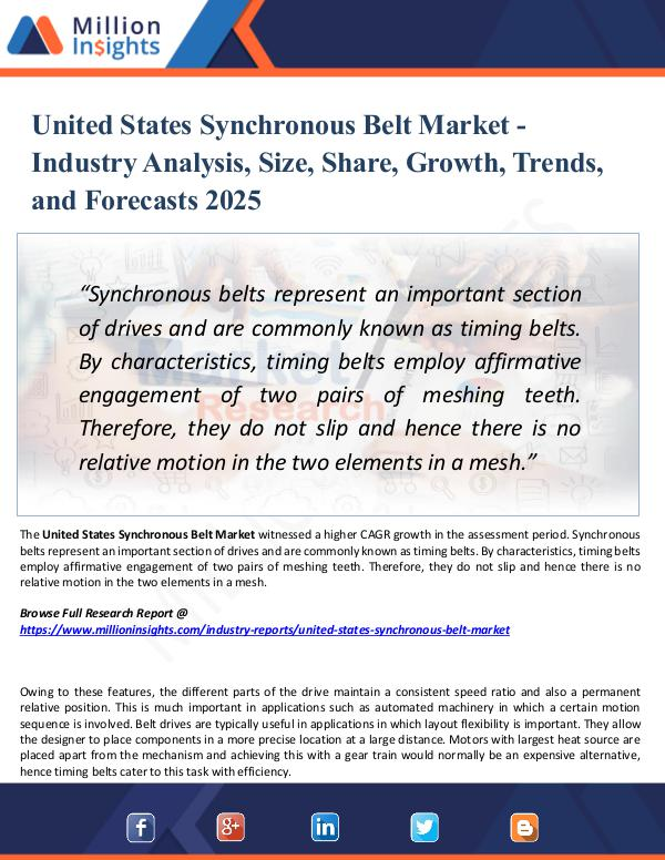 Market Research Analysis United States Synchronous Belt Market 2025