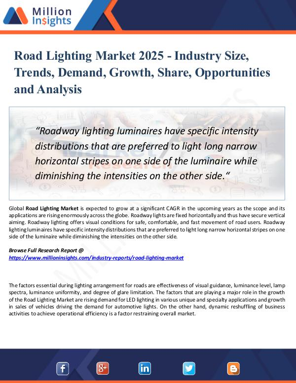 Market Research Analysis Road Lighting Market 2025 - Industry Size, Trends,