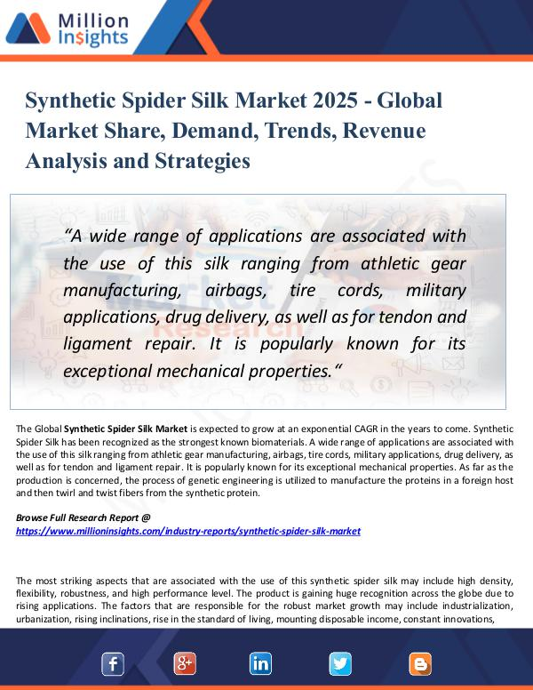 Market Research Analysis Synthetic Spider Silk Market 2025 - Global Market