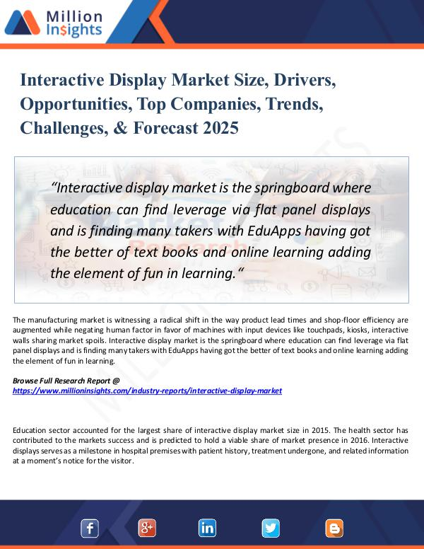 Market Research Analysis Interactive Display Market Size, Drivers, 2025