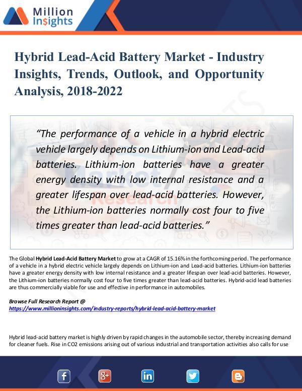 Market Research Analysis Hybrid Lead-Acid Battery Market - Industry Insight