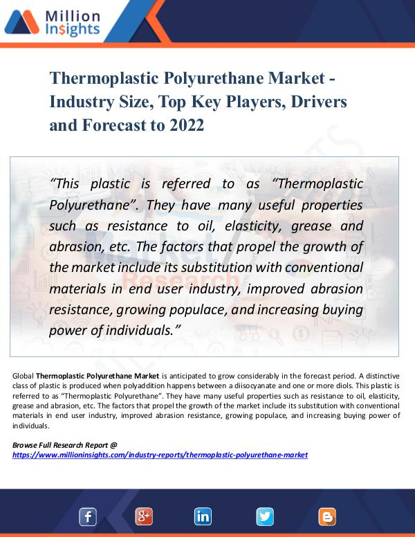 Market Research Analysis Thermoplastic Polyurethane Market - Industry Size