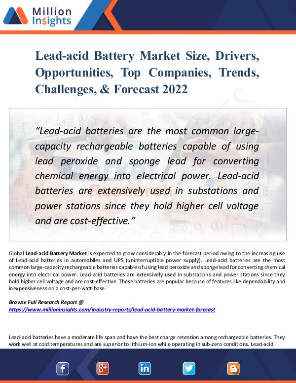 Market Research Analysis Lead-acid Battery Market Size, Drivers, Opportunit