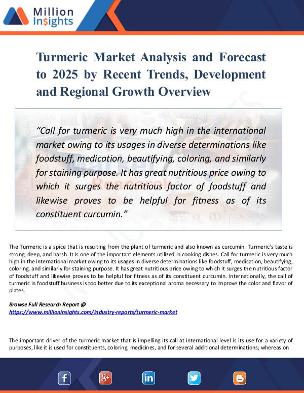 Market Research Analysis Turmeric Market Analysis and Forecast to 2025