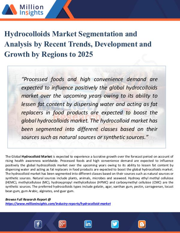 Market Research Analysis Hydrocolloids Market Segmentation and Analysis