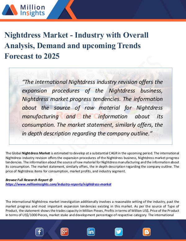 Market Research Analysis Nightdress Market - Industry with Overall Analysis
