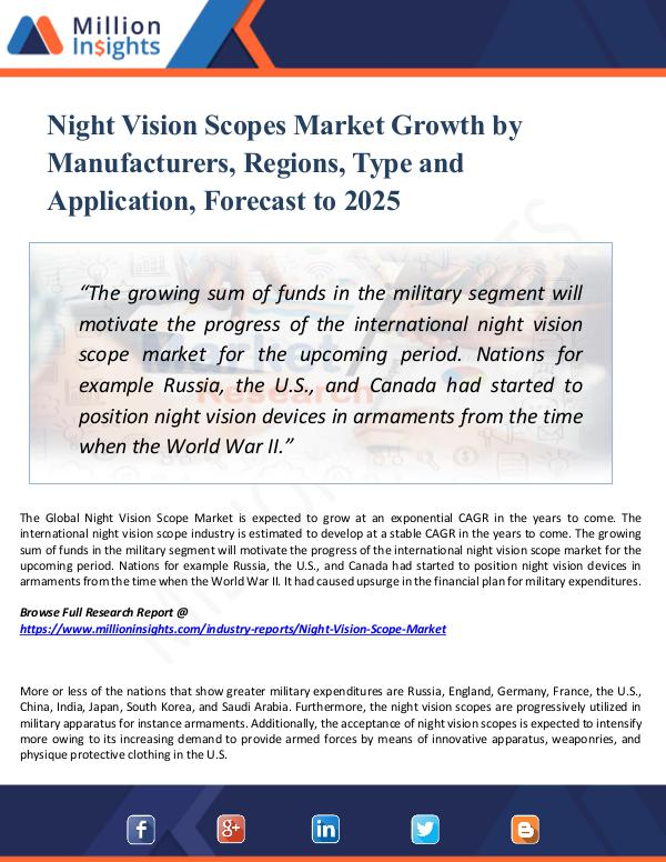 Market Research Analysis Night Vision Scopes Market Growth by Manufacturers
