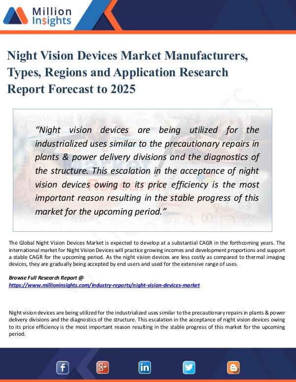 Market Research Analysis Night Vision Devices Market Manufacturers, Types