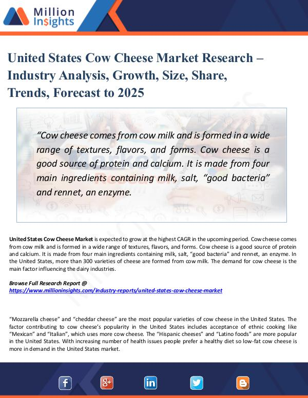 United States Cow Cheese Market Research – 2025
