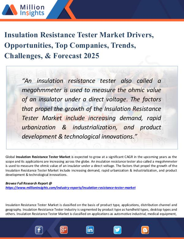 Insulation Resistance Tester Market Drivers, 2025