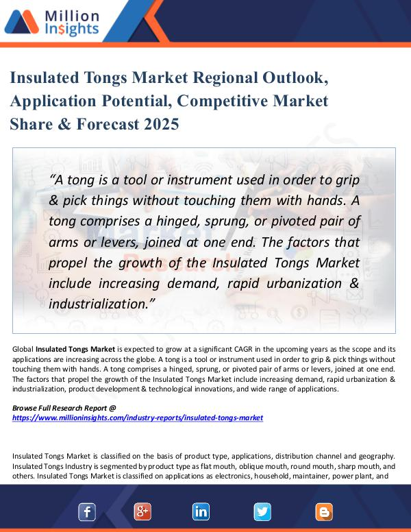 Insulated Tongs Market Regional Outlook, Growth