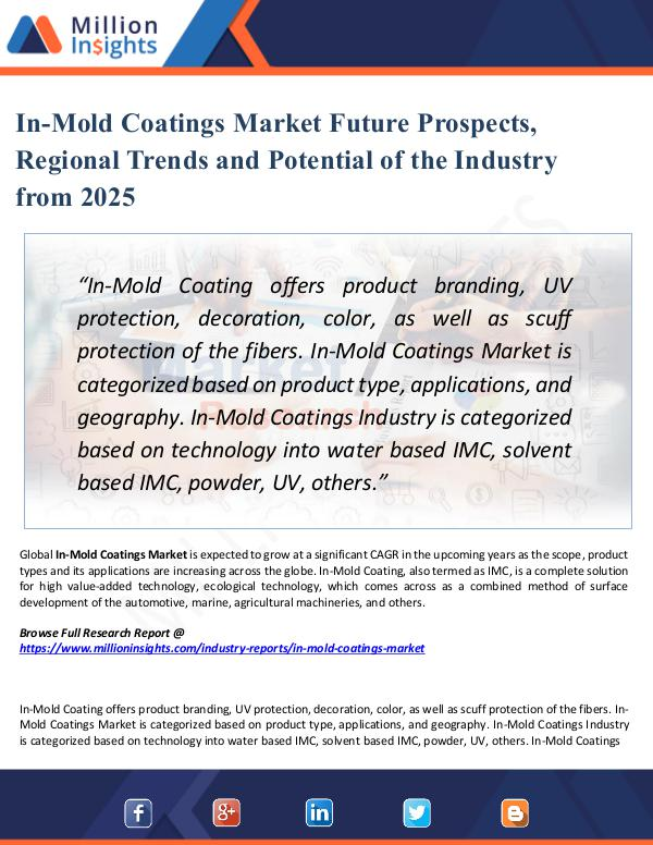 In-Mold Coatings Market Future Prospects, Regional