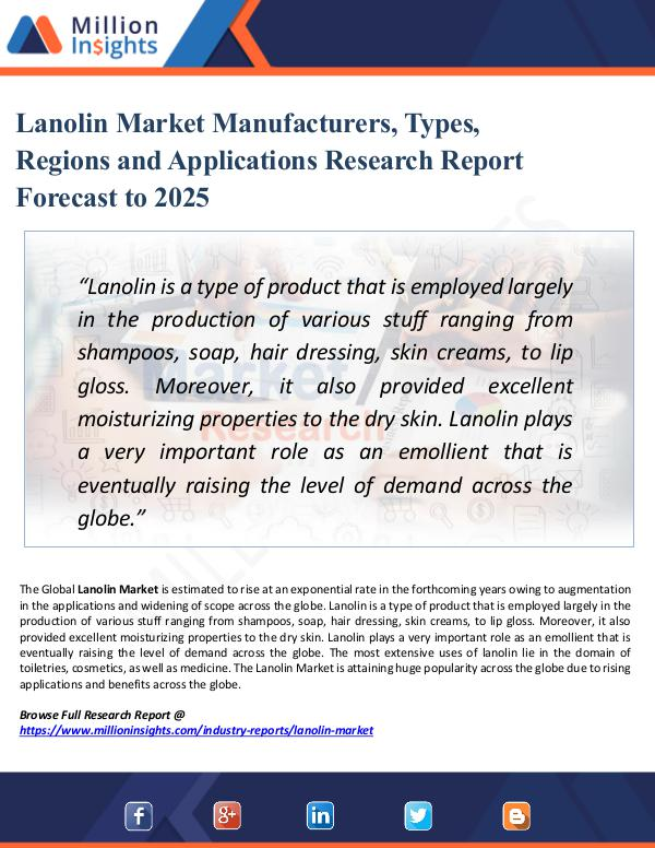Lanolin Market Manufacturers, Types, Regions 2025