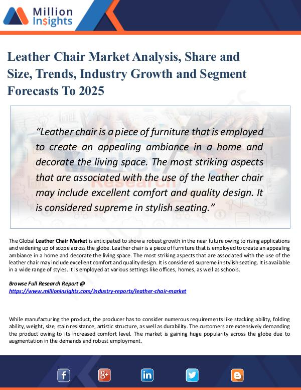 Leather Chair Market Analysis, Share and Size 2025