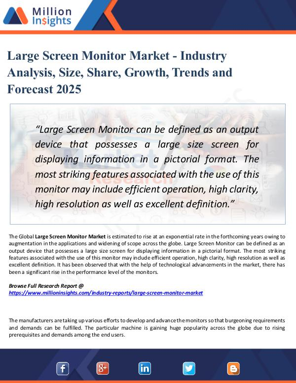 Large Screen Monitor Market - Industry Analysis