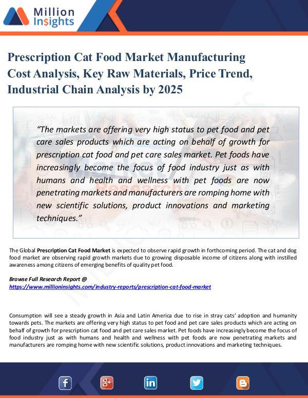 Market Share's Prescription Cat Food Market Manufacturing Cost