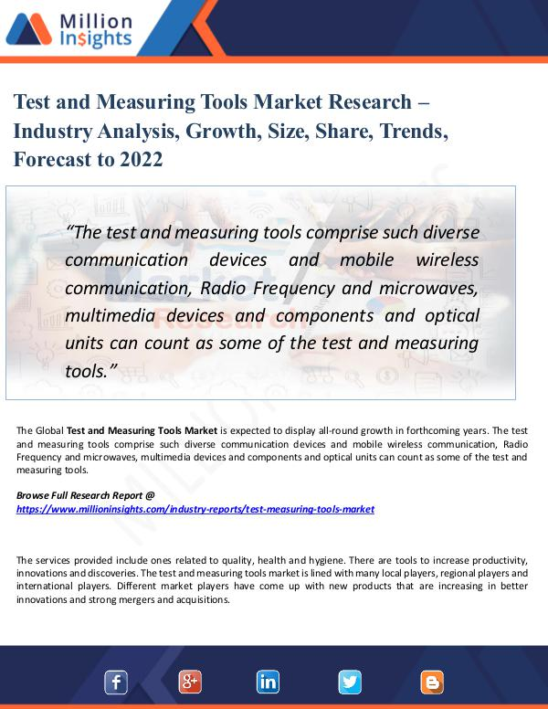 Market Share's Test and Measuring Tools Market Research – 2022