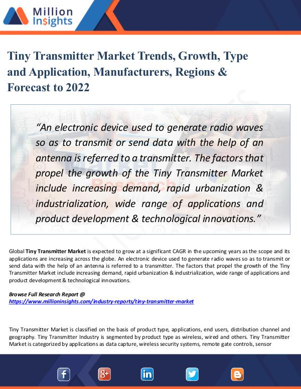 Market Share's Tiny Transmitter Market Trends, Growth, Type 2022