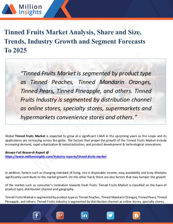 Market Share's Tinned Fruits Market Analysis, Share and Size,2025