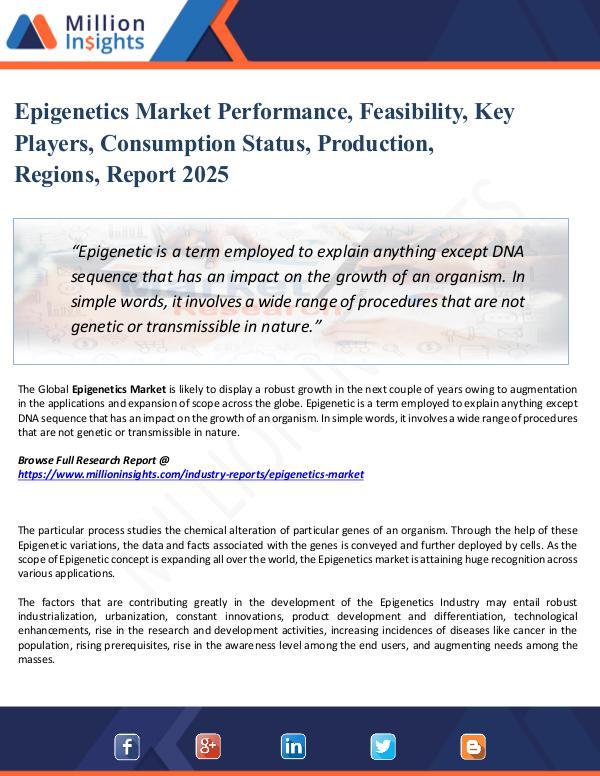 Market Share's Epigenetics Market Performance, Feasibility, Key