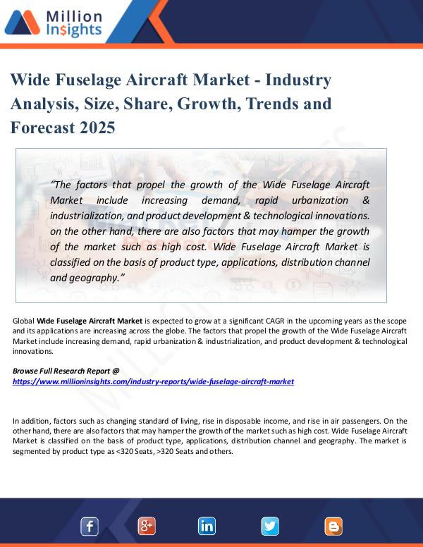 Market Share's Wide Fuselage Aircraft Market - Industry Analysis