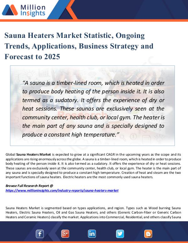 Market Share's Sauna Heaters Market Statistic, Ongoing Trends