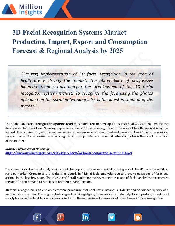 Market Share's 3D Facial Recognition Systems Market Production, I