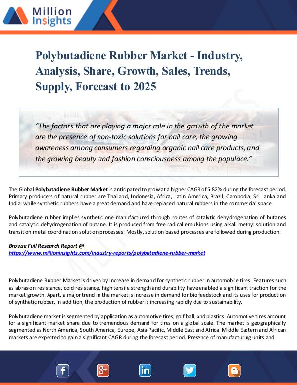 Market Share's Polybutadiene Rubber Market - Industry, Analysis