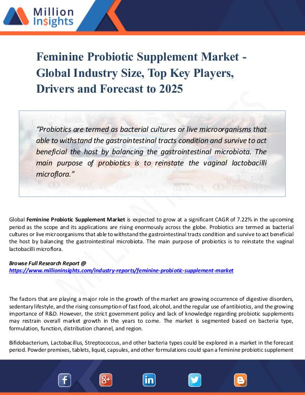 Feminine Probiotic Supplement Market -Global Share