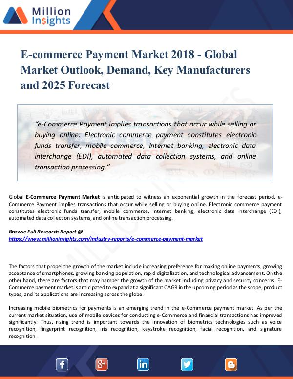 E-commerce Payment Market 2018 - Global Outlook