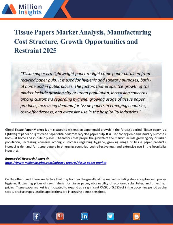 Market New Research Tissue Papers Market Analysis, Manufacturing Cost