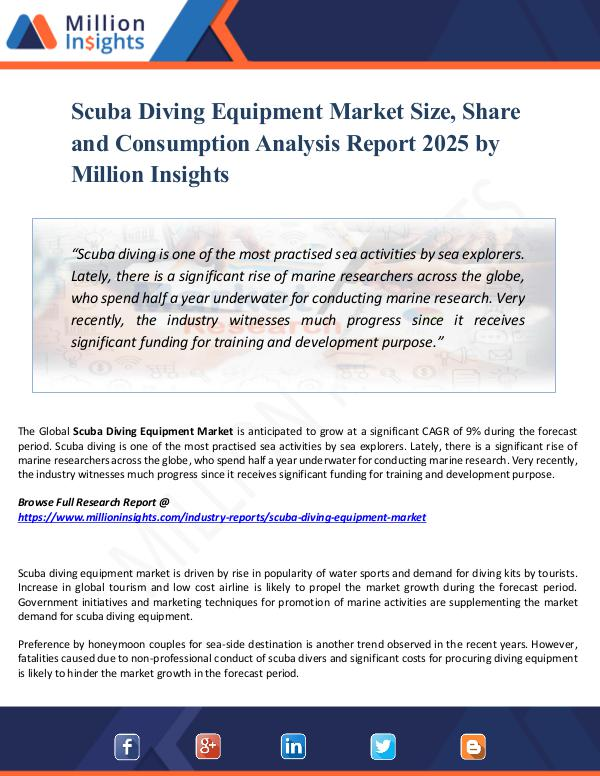 Scuba Diving Equipment Market Size, Share ,Report