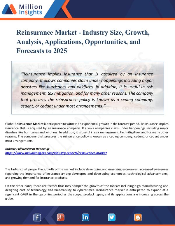 Reinsurance Market - Industry Size, Growth, Report