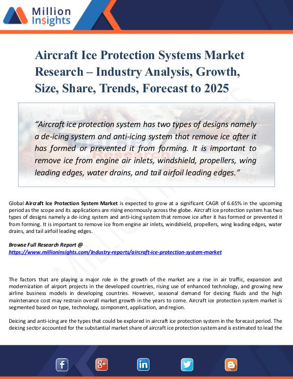Market New Research Aircraft Ice Protection Systems Market Research