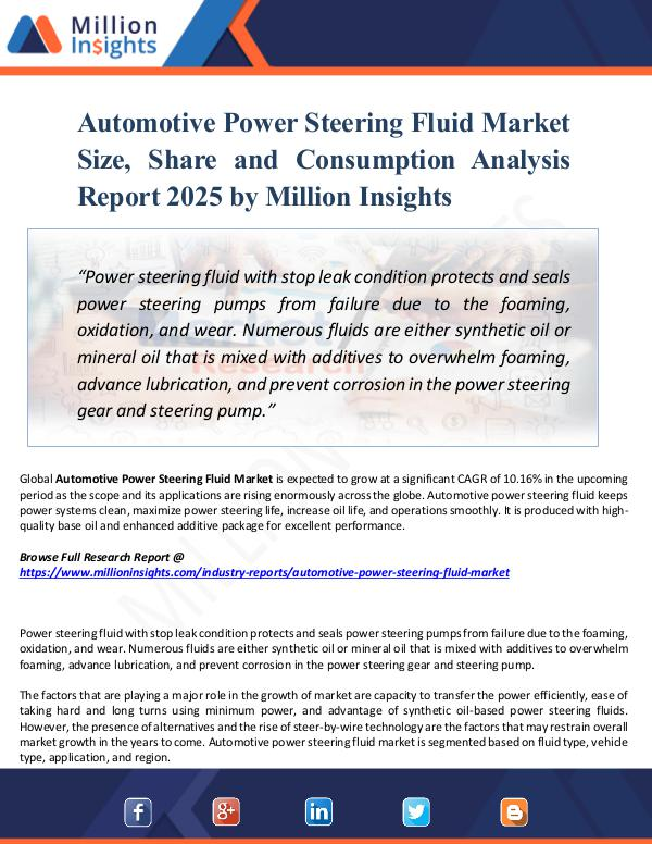 Automotive Power Steering Fluid Market Size, Share