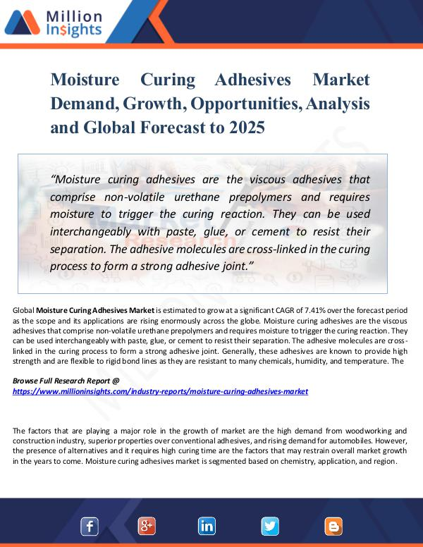 Market New Research Moisture Curing Adhesives Market Demand, Growth,