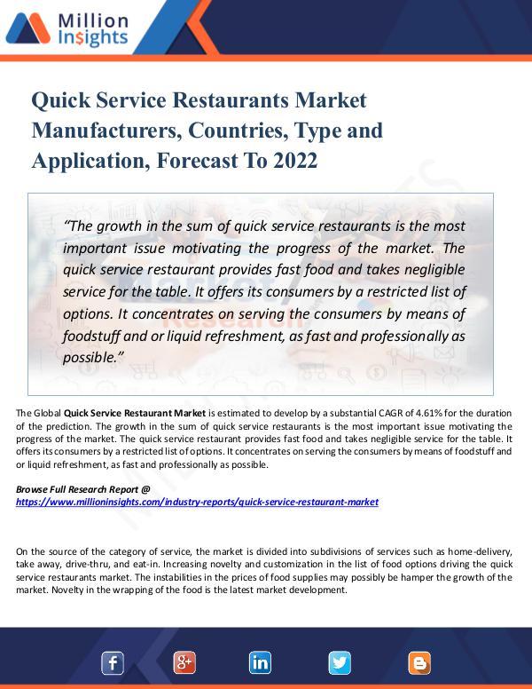 Quick Service Restaurants Market Manufacturers,