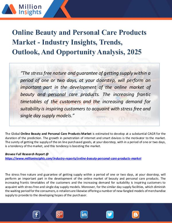 Market New Research Online Beauty and Personal Care Products Market -